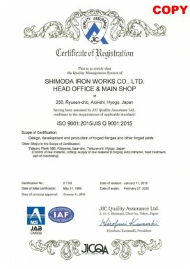 ISO 9001<br>Scope: Design, development and production of forged flanges and other forged joints. Certified on May 21, 1996.